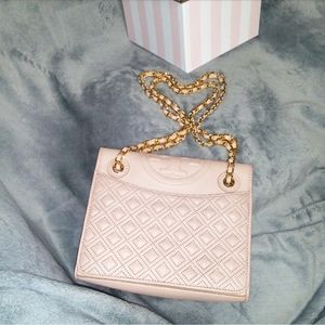🍭Quilted✨Chain Crossbody Soft Pink Tory burch bag